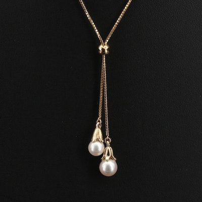 18K and 14K Pearl Lariat Necklace