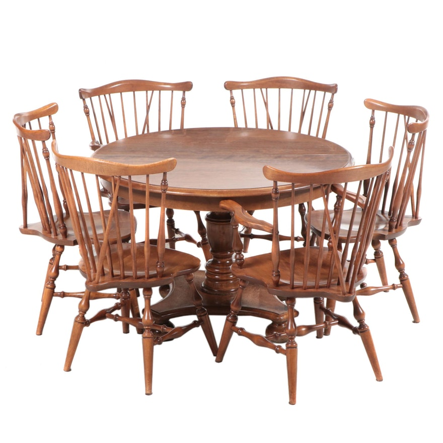 Ethan Allen American Colonial Maple Dining Set, Mid to Late 20th Century