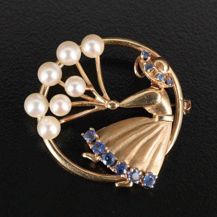 14K Pearl and Sapphire Figuaral with Balloons Converter Brooch