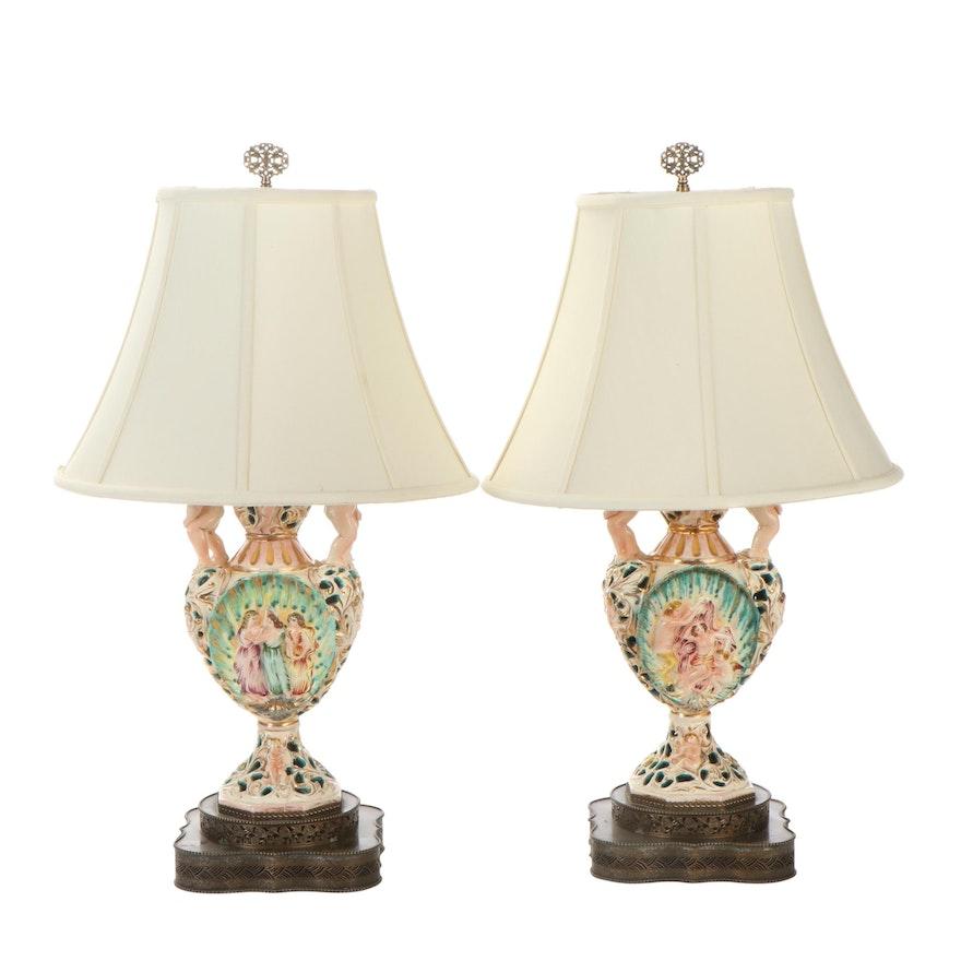 Pair of Capodimonte Style Three Graces and Venus Ceramic Urn Shaped Lamps