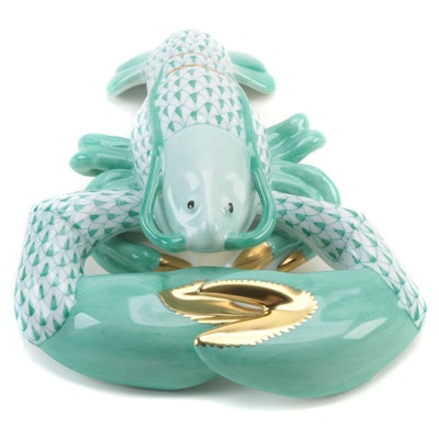 "Herend Green Fishnet with Gold ""Lobster"" Porcelain Figurine"