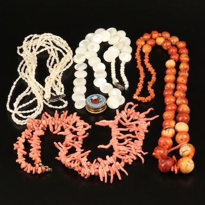 Coral and Pearl Strand Necklaces Including Micromosaic Pendant