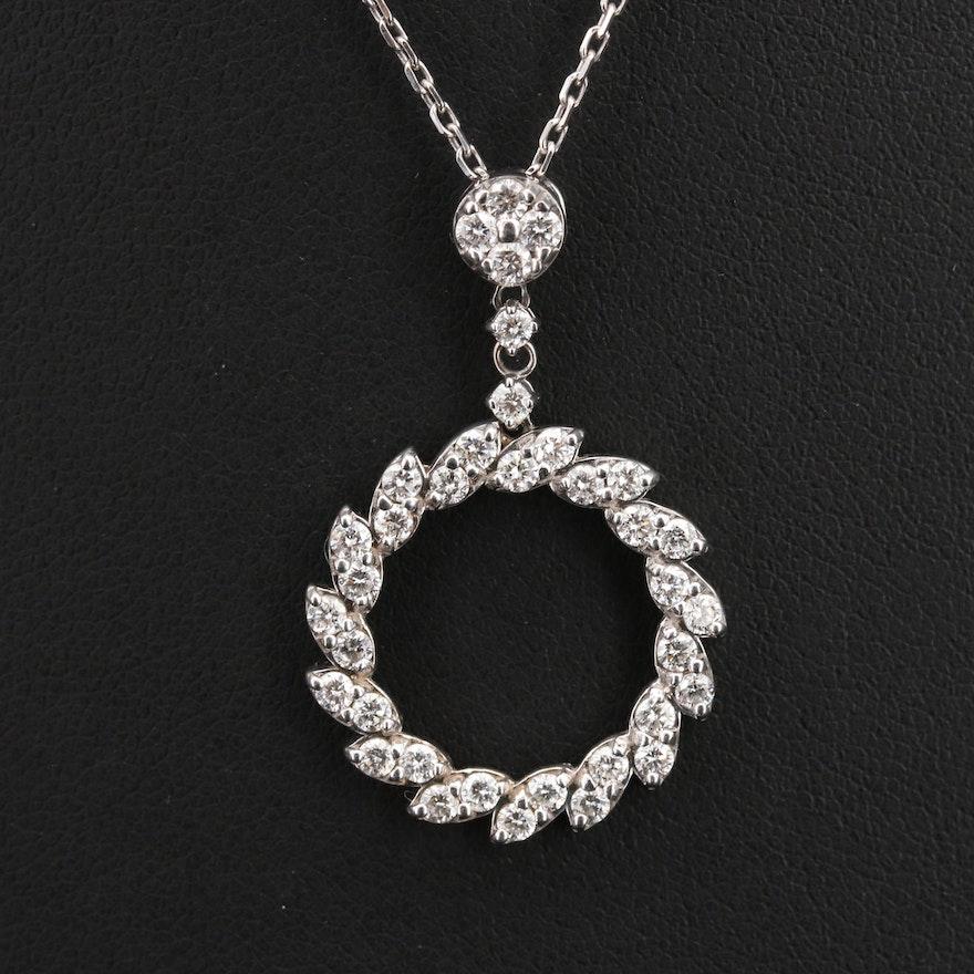 14K 1.17 CTW Diamond Circle Pendant Necklace