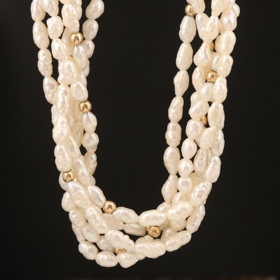 Matinee Length Multi-Strand Pearl Necklace with 14K Findings