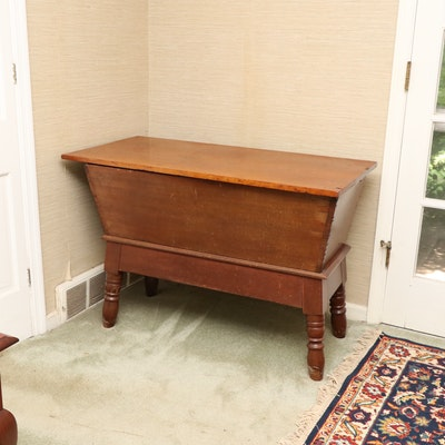 American Primitive Mixed Hardwoods Dough Box on Stand, First Half 19th Century