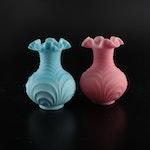 Fenton Pink and Blue Custard Satin Ruffled Glass Vases