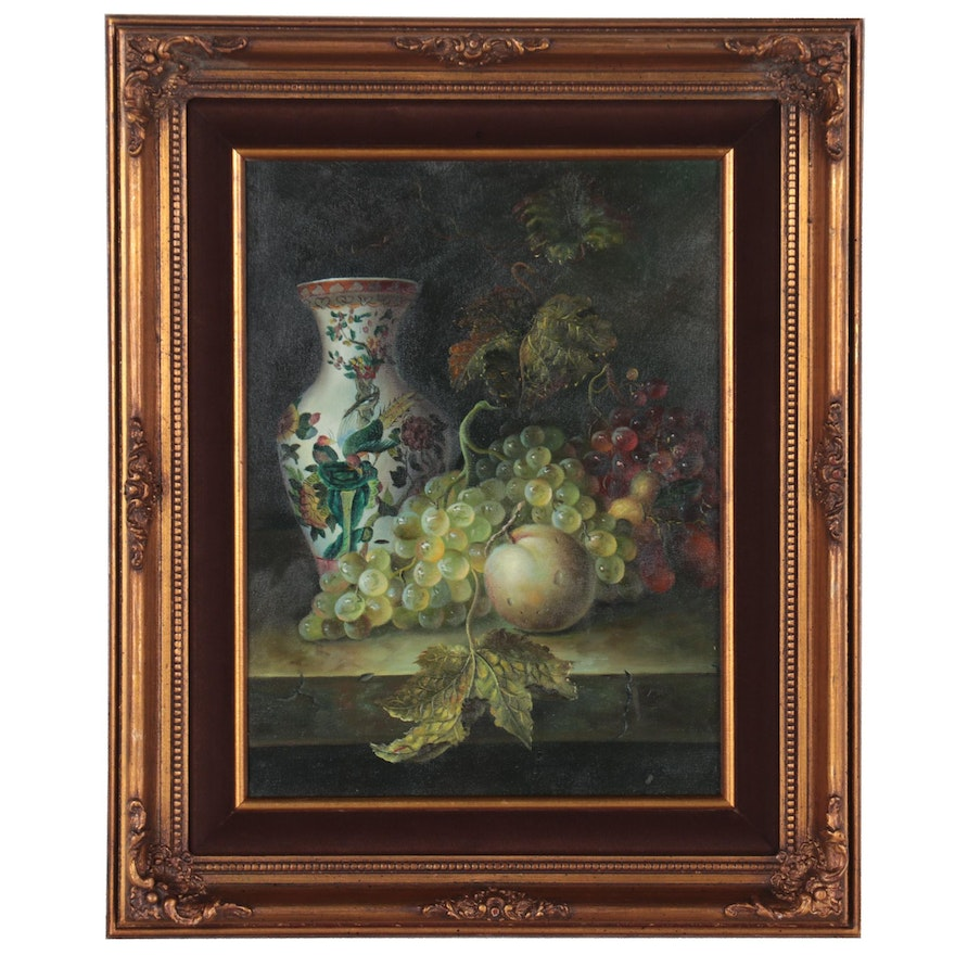 Still Life Oil Painting of Vase with Fruit, 21st Century