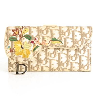 Christian Dior Embroidered Saddle Flap Wallet in Monogram Oblique Jacquard