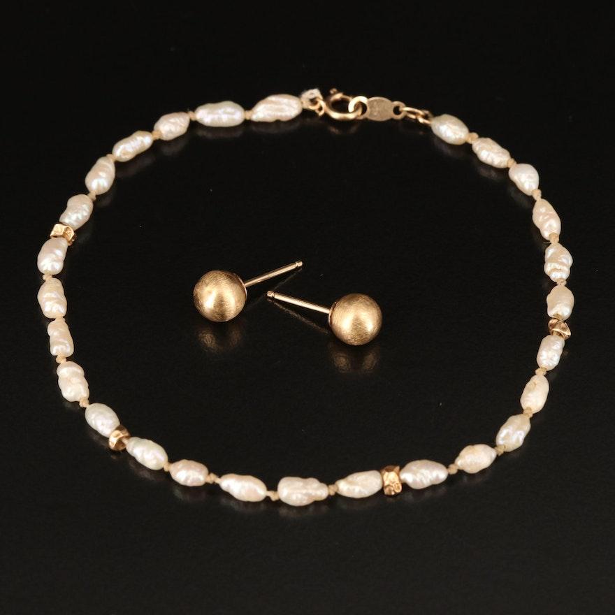 14K Stud Earrings with 14K Pearl Bracelet