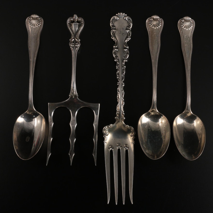 """Towle """"Old Colonial"""" Bread Fork with Other Sterling Silver Utensils"""