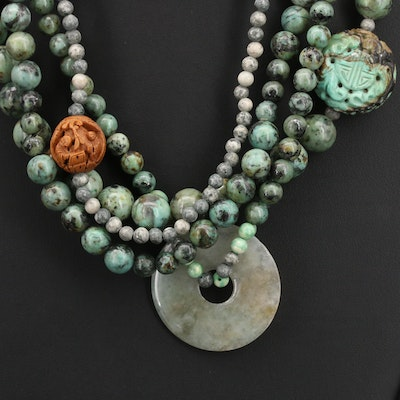 Chinese Jadeite, Turquoise and Gemstone Bi Disk and Storytelling Bead Necklace