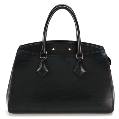 Louis Vuitton Soufflot MM Bag in Black Epi and Smooth Leather