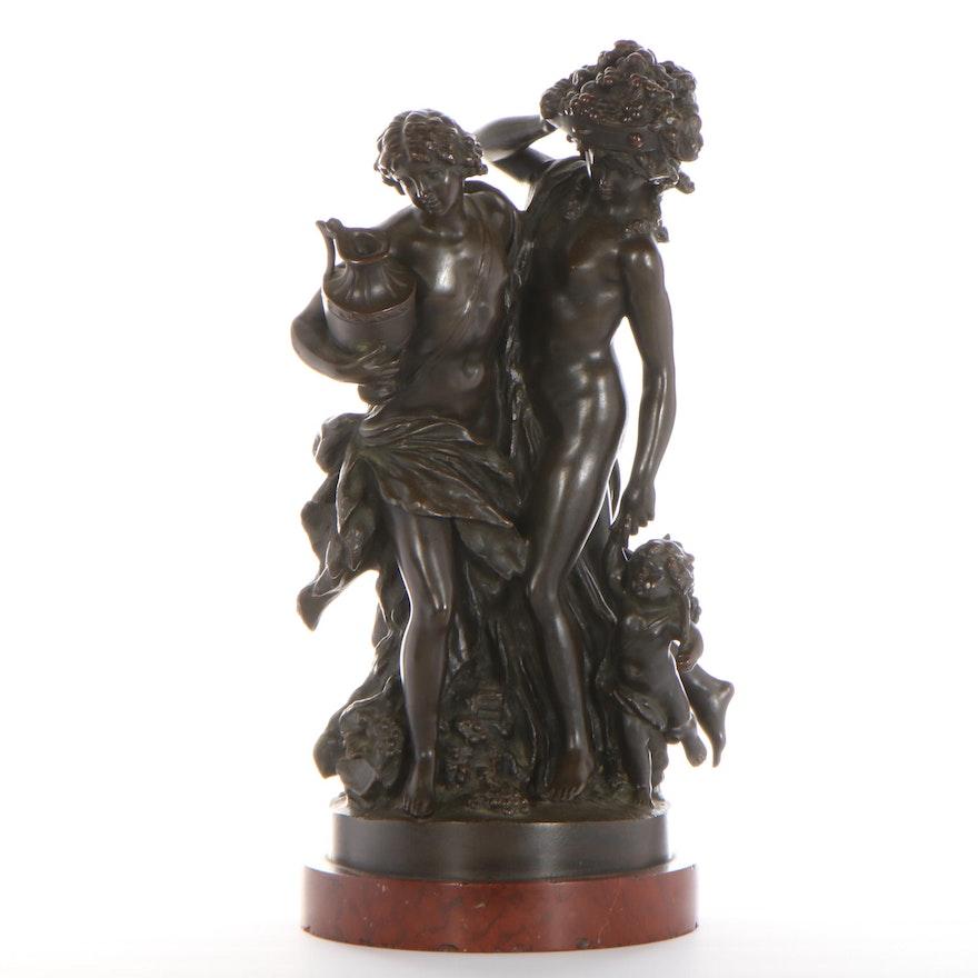 Allegorical Bronze Sculpture After Claude-Michel Clodion