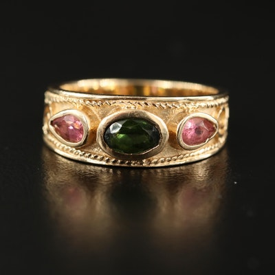 14K Green and Pink Tourmaline Tapered Ring