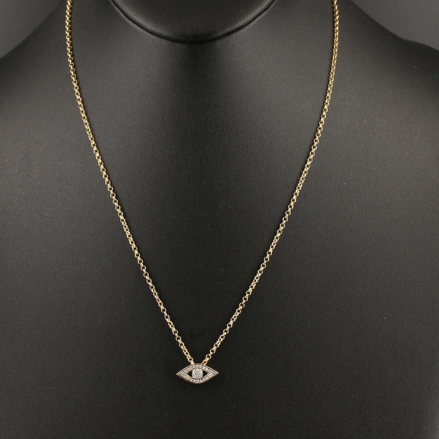 14K Diamond Evil Eye Necklace