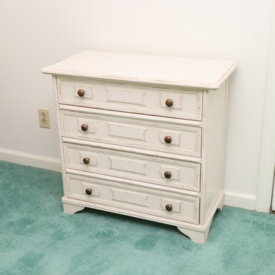 Italian Painted Wood Four-Drawer Chest in Distressed Cream Finish