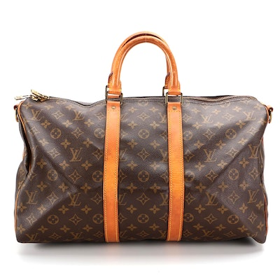 Louis Vuitton Keepall Bandoliere 45 in Mongram Canvas and Vachetta Leather