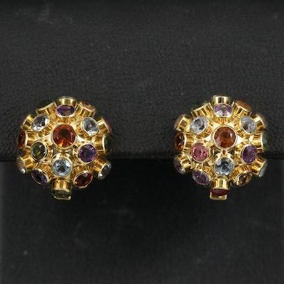 Vintage 18K Gemstone Sputnik Earrings