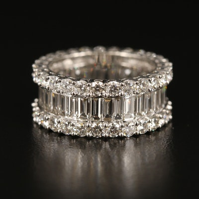 18K 4.51 CTW Diamond Eternity Band with Center Channel Setting