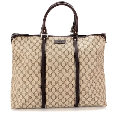 Gucci Weekender in GG Supreme Canvas and Brown Leather