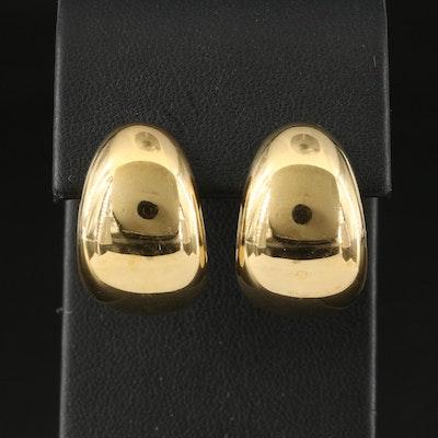 18K J Hoop Earrings