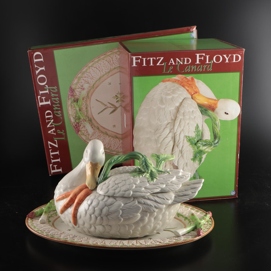 """Fitz and Floyd """"Le Canard"""" Duck Tureen with Ladle and Serving Platter"""