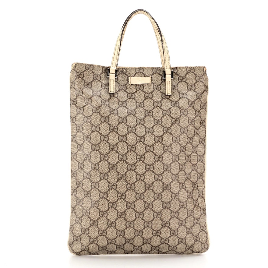 Gucci Flat Tote in GG Supreme Canvas and Ivory Leather