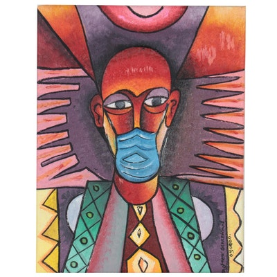 """Taofeek Olalekan Oil Painting of Man with Mask """"Stop Covid Spread,"""" 2020"""