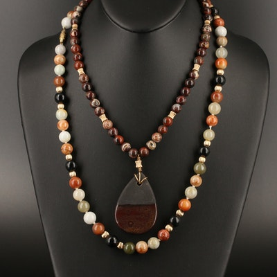 Multi-Color Gemstone Necklaces Featuring 14K, Jadeite, Black Onyx and Jasper