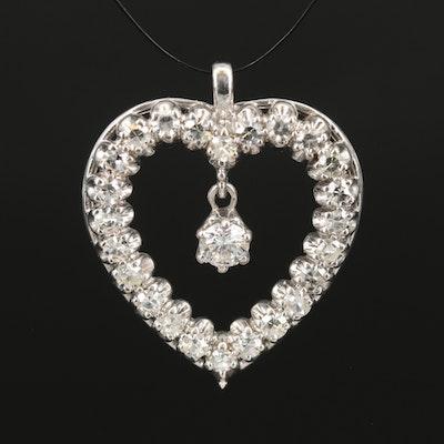 Vintage 14K 1.21 CTW Diamond Heart Pendant