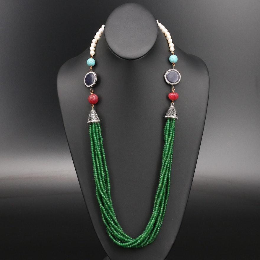 Rhinestone, Pearl and Gemstone Multi-Strand Necklace