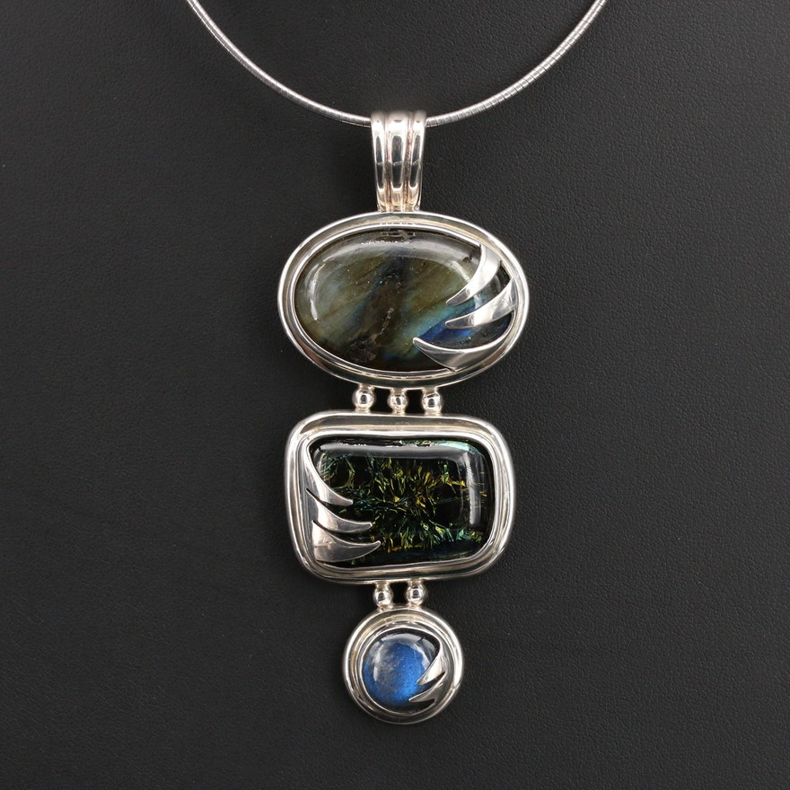 Rhonda Kay Sterling Labradorite and Dichroic Glass Pendant Necklace