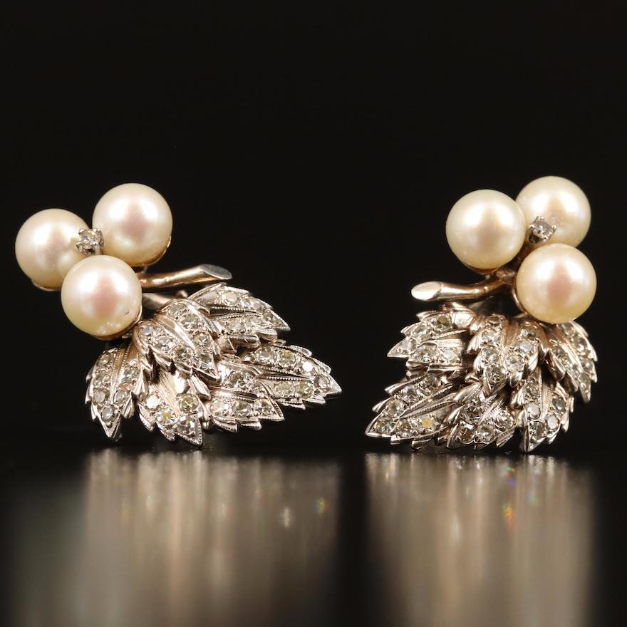 14K and Palladium Pearl and 1.05 CTW Diamond Leaf Earrings