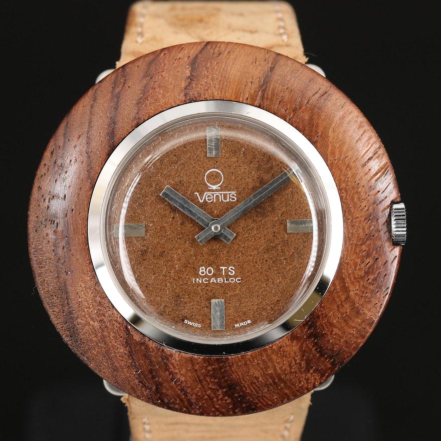 Vintage Venus 80TS Wood and Stainless Steel Stem Wind Wristwatch