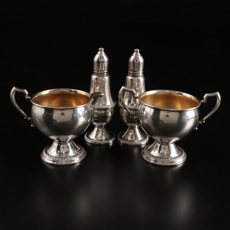 Rogers Sterling Silver Creamer and Sugar with Duchin Creation Sterling Shakers