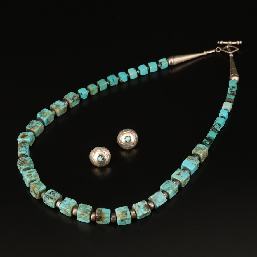 Southwestern Style Sterling Turquoise Necklace and Earrings