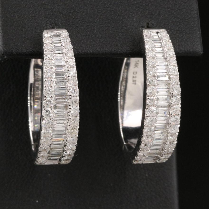 14K 2.97 CTW Diamond Oblong Hoop Earrings