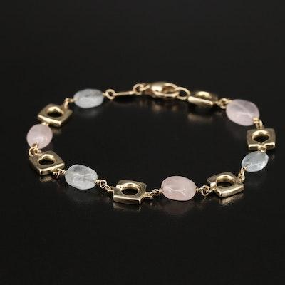 Italian 14K Aquamarine and Rose Quartz Link Bracelet