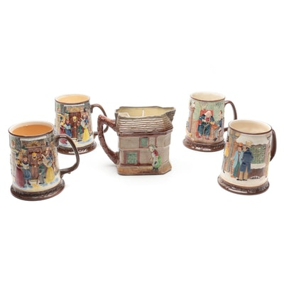 """Royal Doulton """"Old Curiosity Shop"""" Pitcher with Other Ceramic Tankards"""