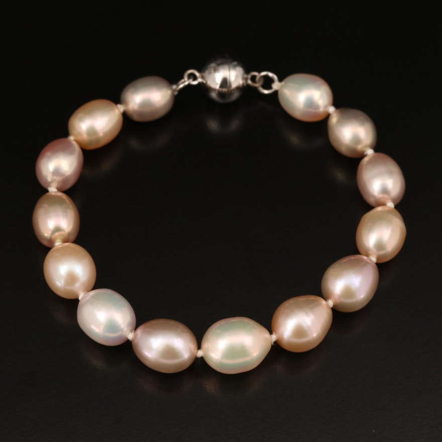 Pearl Bracelet with Sterling Silver Magnetic Clasp