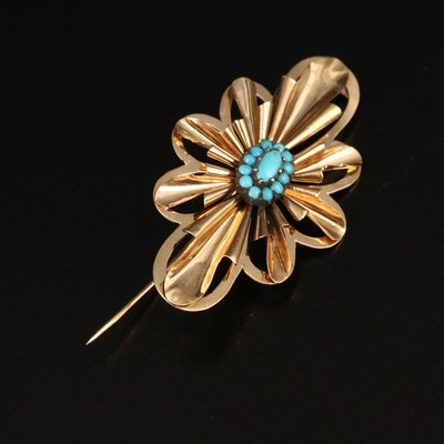 14K Turquoise Brooch with Sterling Silver Setting
