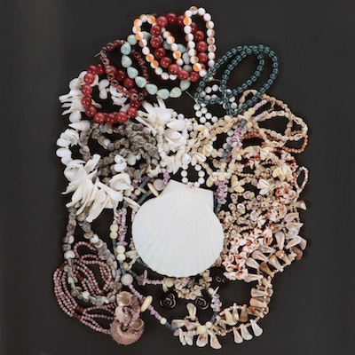 Shell, Coral and Gemstone Bracelets and Necklaces