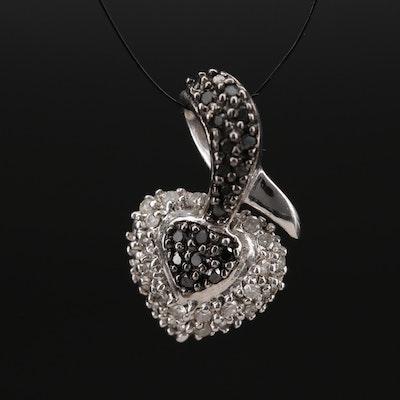 14K Pavé Diamond Heart Slide Pendant