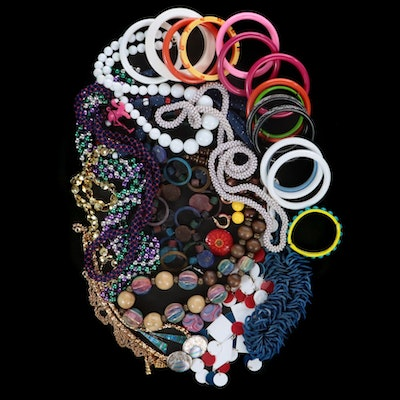 Shell and Wood Jewelry with Bangles and Beaded Necklaces