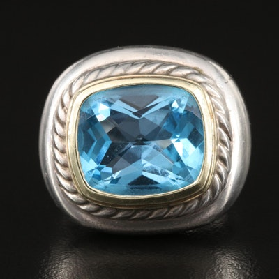 """David Yurman """"Albion"""" Sterling Topaz Ring with 14K Accent"""