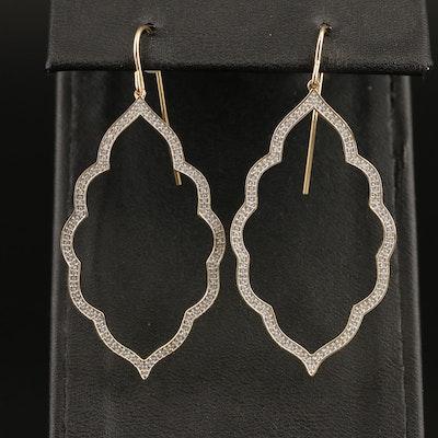 10K Diamond Arabesque Drop Earrings