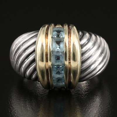 David Yurman Sterling Silver Topaz Cable Ring with 14K Accents