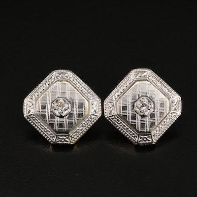 Vintage 14K Diamond Earrings with Platinum Setting