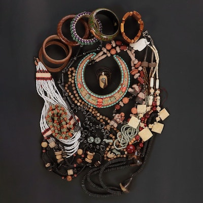 Beaded Jewelry Including Sterling, Bone and Mixed Gemstones
