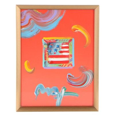 "Peter Max Embellished Digital Print ""Flag with Heart Version 1 #134"""